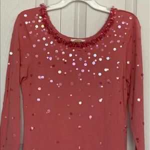 Talbots pink with sequins top